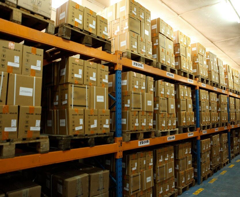 Warehouse product equipment for warehouse processing of goods